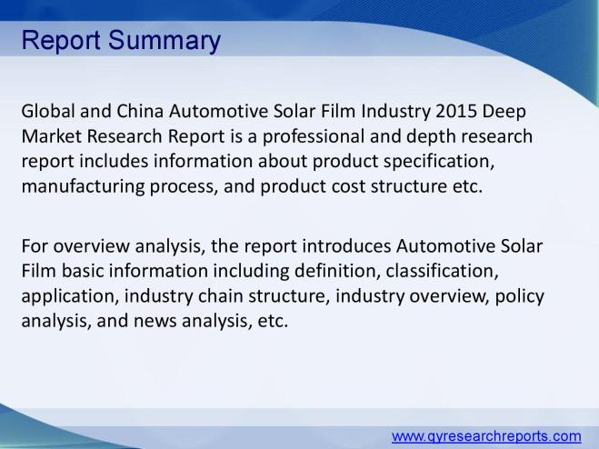 Automotive solar film market research 2015 global and china industry